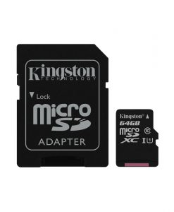 Kingston Canvas Select MicroSDXC 64GB UHS-I + SD Adapter SDCS64GB
