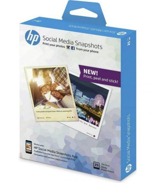 HP Social Media Snapshots Removable Sticky Photo Paper 25Sht10x13cm W2G60A