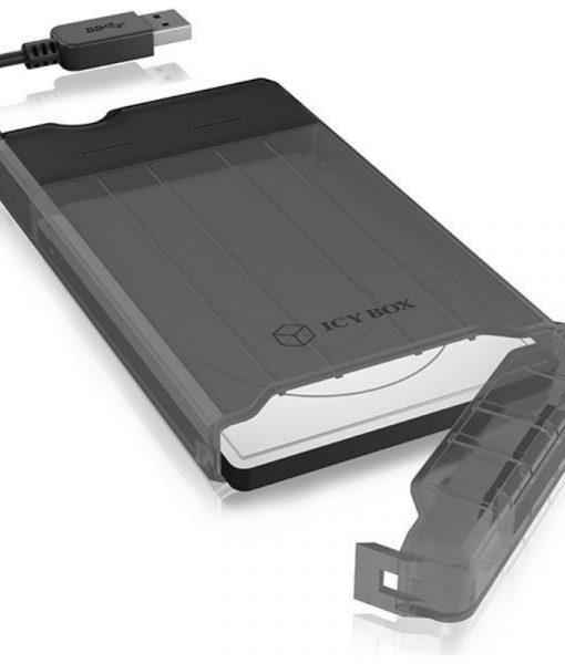 RaidSonic Icy Box Sata 2.5 USB 3.0 HDDSSD 9.5mm External Enclosure Black IB-235-U3_3