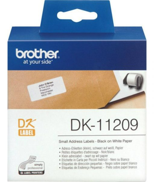 Brother Black on White 800 Adress Labels 29x62mm DK11209
