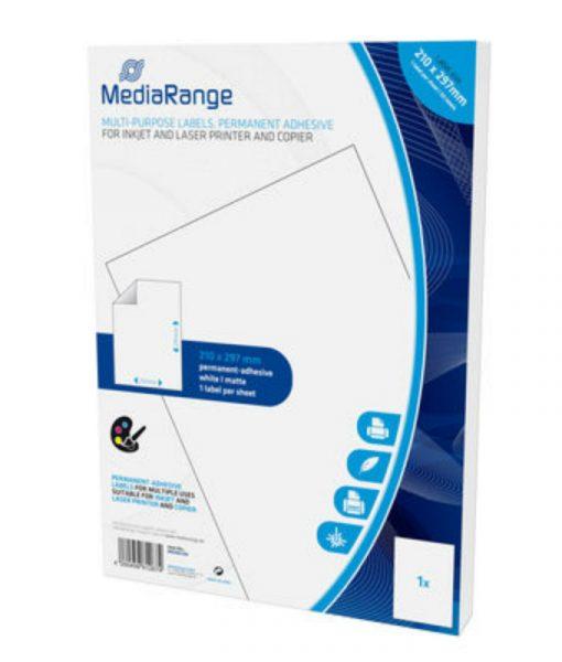 MediaRange Multi-purpose Labels A4 Permanent Adhesice White 50 Pack MRINK140_1