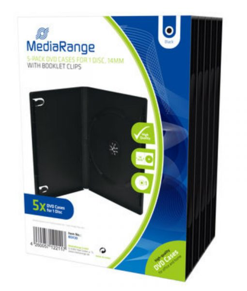MediaRange DVD Case for 1 Disc 14mm Black 5 Pack BOX30