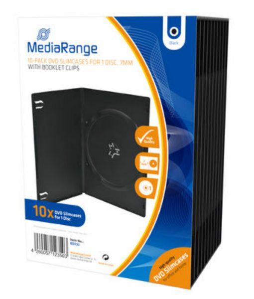 MediaRange DVD Slimcase for 1 Disc 7mm 10 Pack Black BOX33