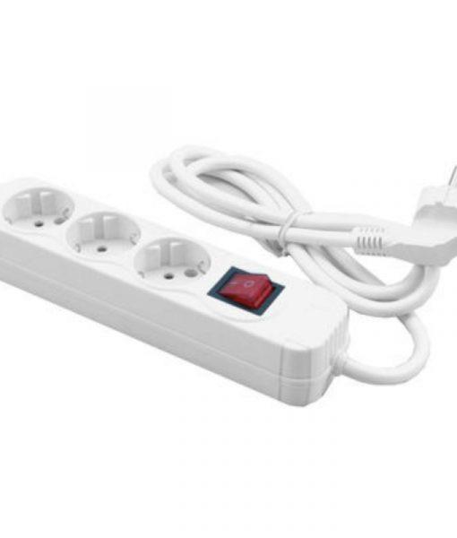 MediaRange Socket Strip 3-Way Schuko with Power Switch & Child Protection 1.4m White MRCS205