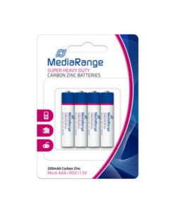 MediaRange Super Heavy Duty Carbon-Zinc Batteries Micro AAA R03 1.5V 4Pack MRBAT141