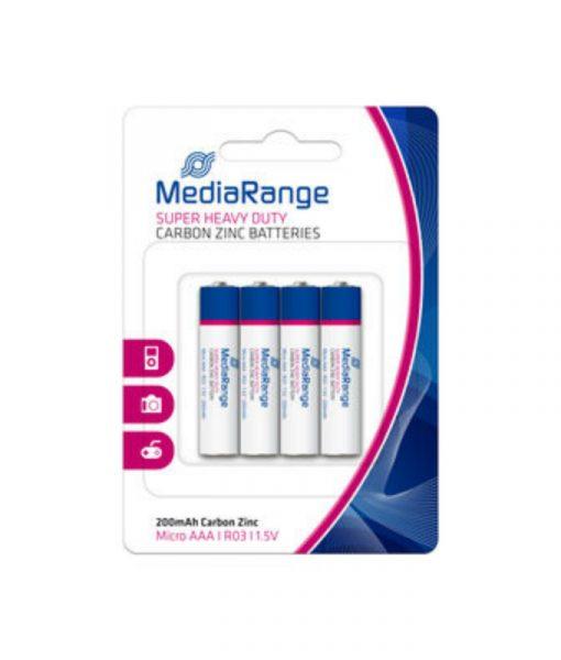 MediaRange Super Heavy Duty Carbon-Zinc Batteries Micro AAA R03 1.5V 4Pack MRBAT141