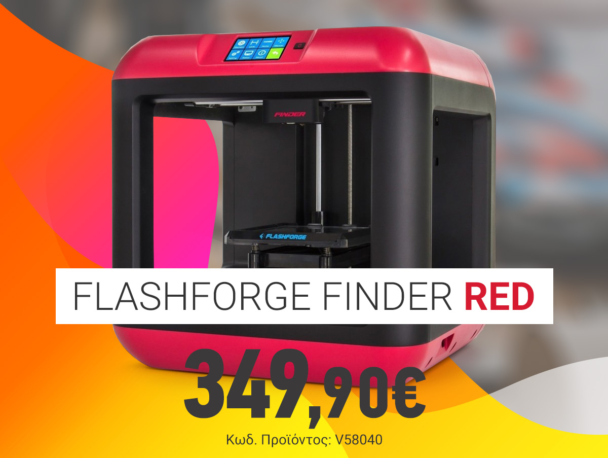 V58040 Flashforge Finder Red Single Extrusion 3D Printer 10043001