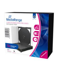 MediaRange CD Jewelcase for 2 Discs 10.4mm 5-Pack Transparent with Black Tray BOX31-2