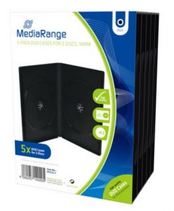 MediaRange DVD Case for 2 Discs 14mm 5-Pack Black BOX30-2