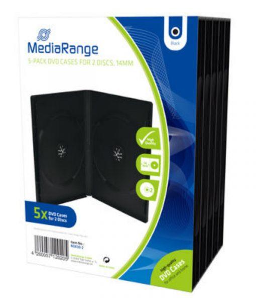 MediaRange DVD Case for 2 Discs 14mm 5-Pack Black BOX30-2