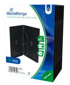 MediaRange DVD Case for 4 Discs 14mm 5-Pack Black BOX35-4