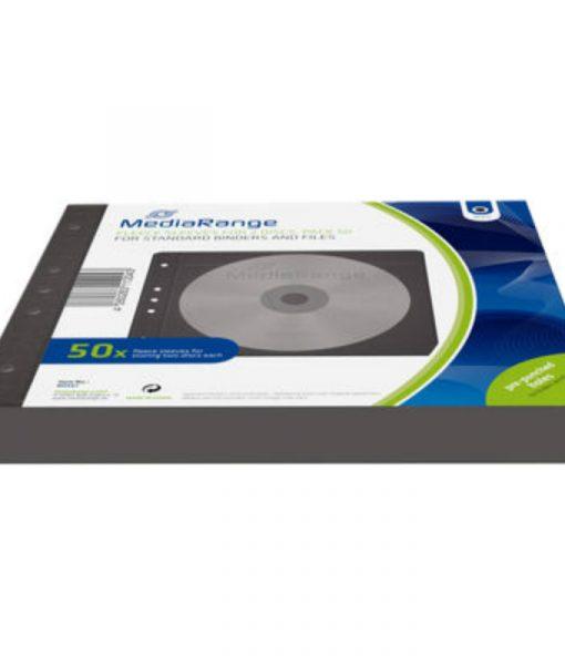 MediaRange Fleece Sleeves for 2 Discs 50-Pack Black BOX61