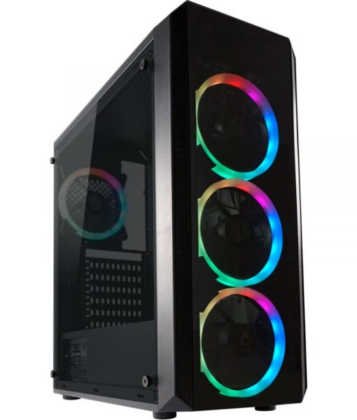 LC-Power Gaming 703B Quad Luxx RGB Midi Tower Tempered Glass Black LC-703B-ON