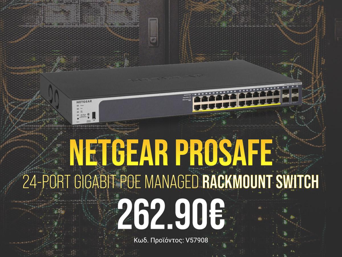 V57908 Netgear ProSAFE 24-Port Gigabit PoE Managed Rackmount Switch GS728TP-200EUS v2